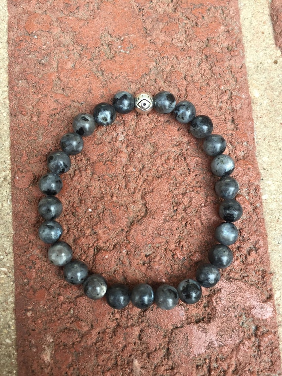 Larvikite Bracelet Larvikite Jewelry Black by MoonCandyShop