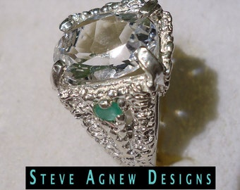 Clear Quartz and Emerald Ring