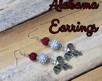 Alabama Crimson Tide Jewelry Earrings University Of Alabama Bama Roll Tide Football Elephant Charm Red White Crystal Collegiate College