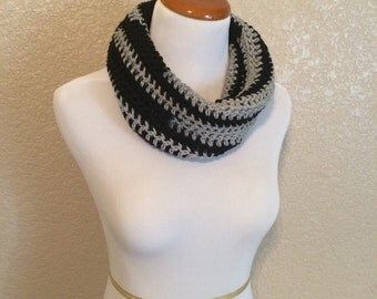 Black and gray neck warmer - two toned inifinity scarf - warm winter neckwarmer - striped black and silver cowl neck scarf - trendy chale