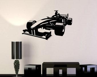 Wall Vinyl Decal Car Racing Formula Race Garage Man Cave Decor Cool Auto Body Shop Kid's Room (#1030di)