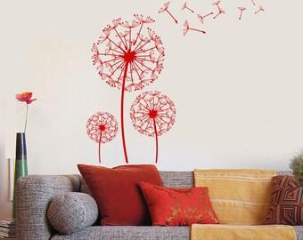 Wall Vinyl Decal Dandelions Puffball Bouquet of Flowers Blowing Seeds Flower Ornament Modern Home Decor (#1129dz)