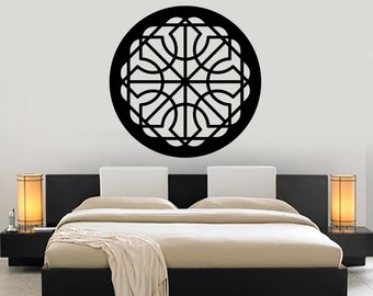 Wall Vinyl Decal Mandala Pattern Symbol of Universe Cosmos Indian Religious Spiritual Modern Home Decor (#1178dz)