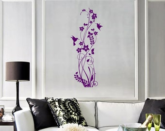 Wall Vinyl Decal Floral Ornament Colibri Bird Hummingbird Flower Modern Romantic Abstract Home Art Decor (#1236di)