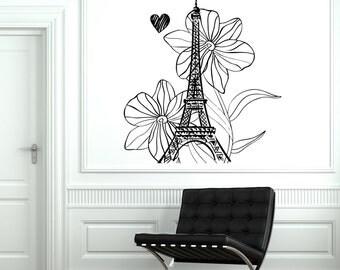 Wall Decal Paris France Vacation Flower Heart Romantic Vinyl Decal Sticker 1813dz