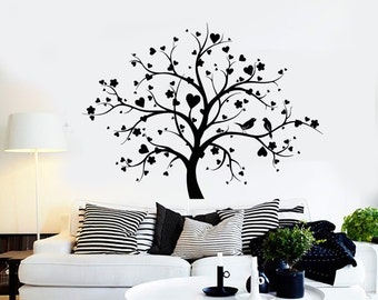 Wall Vinyl Decal Tree Branch Heart Birds Romantic Bedroom Decor 2334di