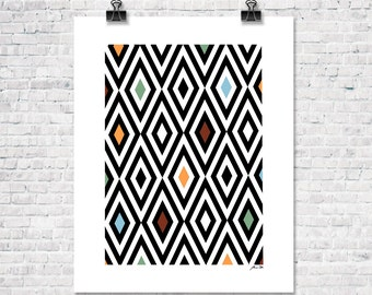 Retro Instant Download Triangle Poster Vintage Pattern Print Digital Download Wall Art Download Home Decor Office Decor Printable Wall Art