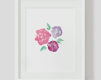 Abstract Floral Watercolor INSTANT DOWNLOAD Art, Watercolor Printables, Watercolor Art, Colorful Print, Colorful Artwork, Digital Art