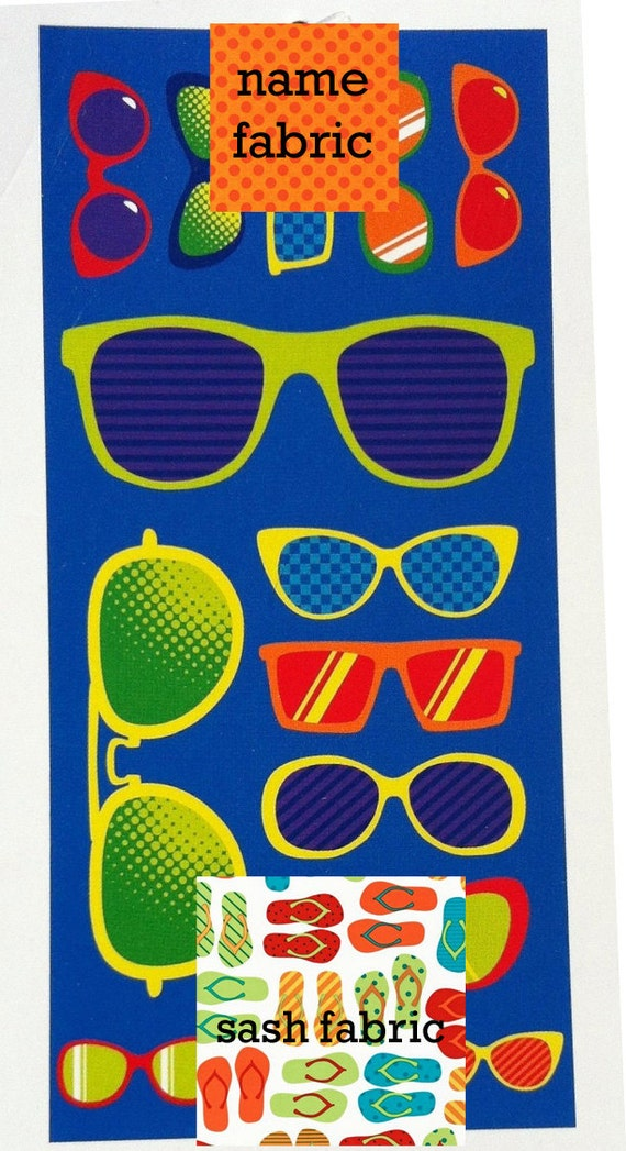 Personalized Name Sunglasses Orange and Blue Beach Towel with Fabric Bow, Summer, Birthday Gift