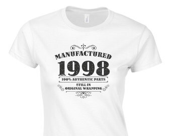 Women's 18th Birthday T Shirt Funny Manufactured 1998 18th Birthday Gifts *GIFT BOXED free of charge!*