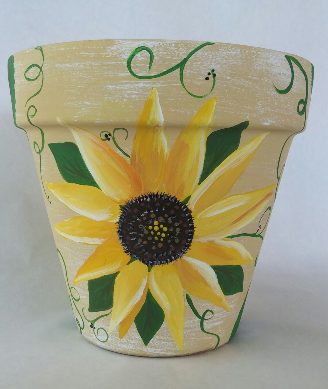 flowerpot hand painted pot sunflower clay pot sunflower. Black Bedroom Furniture Sets. Home Design Ideas