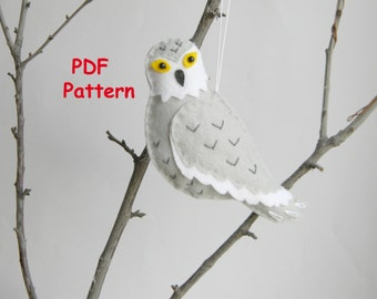 PDF Snowy owl pattern Felt owl christmas ornament  Softie Pattern Winter Felt Ornament Pattern PDF File Instant Download