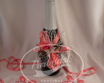 Rustic Wedding glasses decoration,Shabby chic Wedding champagne decoration,Unity Candle Decoration,Toasting Flutes decor,shells,red