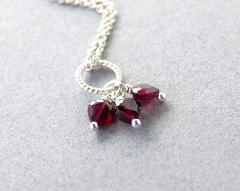 Garnet Heart Trio - Sterling Silver Charm - ADD ON Dangle Pendant - Natural Genuine Red Gemstone - January Birthstone - Pandora Compatible