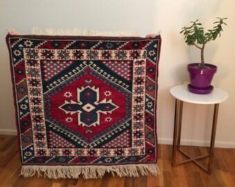 Vintage square Turkish wool rug 3x3ft