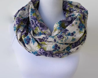 Floral Infinity Scarf, Cotton Scarf, Purple Infinity Scarf, Accessories, Fashion Scarf, Boho Scarf, Women's Scarf, Loop Scarf, Gift For Her