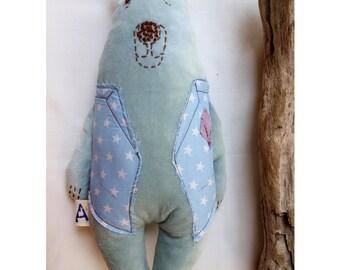 Soft velvet stuffed bear, Bear stuffed animal, Teddy rag doll, Cuddly bear, Bear rag doll, Bear pillow, Plush bear softie, Bear boy gift