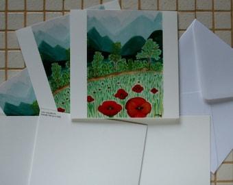 Poppies card-Marine landscape