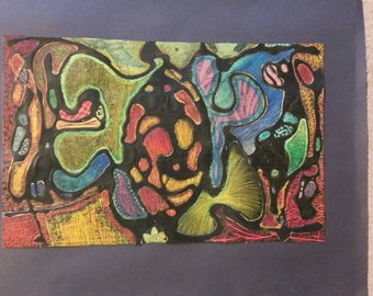 Oil pastel abstract sketch