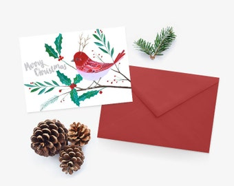Merry Christmas Card, Printable Merry Christmas Card Download, Instant Download Christmas Card, Holly Card, Christmas Bird Card, Red Bird