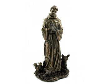 St. Francis Sculpture signature  FREE SHIPPING