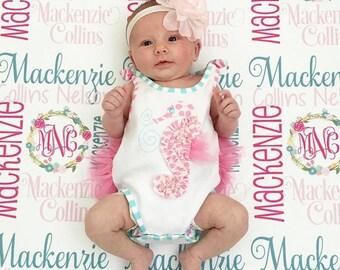 Baby Blanket - Baby Girl Blanket - Personalized Baby Blanket - Monogram Baby Blanket - Swaddle Receiving Blanket -  Custom Blanket