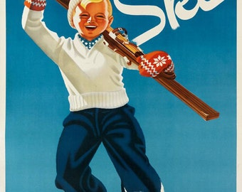 Ski Sweden Blond Boy Having Fun Alps  Skis Skiing Winter Sport Vintage Poster Repro FREE SHIPPING