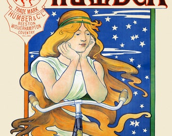 Bike Lady Humber Riding Bicycle Cycle France French Sport Vintage Poster Repro Free S/H in USA