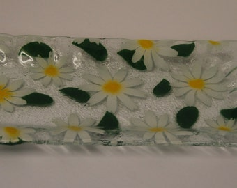 White Daisy fised glass tray