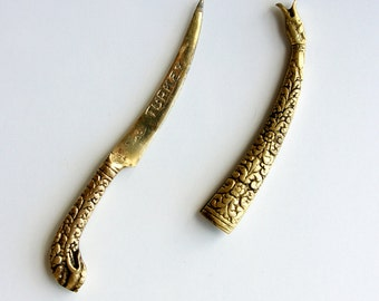 Vintage brass letter opener Ornate envelope opener Oriental embossed Turkey souvenir Brass dagger Man gift Office decor Desk accesssory