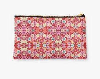 Carry-All Pouch, Crimson Floral Chirimen, 2 Sizes Available!