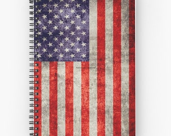 Antique American Flag Spiral Notebook, You Choose Paper Style!