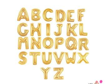 """16"""" Gold Custom balloon/banner. Custom letters. Gold letter balloons. Gold 16"""" letter balloons. Gold word balloons."""