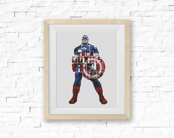 BOGO FREE! Captain America Cross Stitch Pattern, Сomics Quote Counted Cross Stitch Chart, Embroidery Needlework PDF Instant Download #005-12