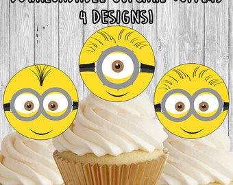 Minions face Cupcake Toppers / Picks - birthday party favor decor - instant download