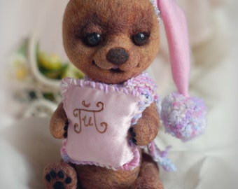Needle Felted toy. little Teddy-Bear Gift for her