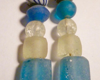 New Earrings Recycled Sea Glass and Ceramic Beads Silver Hooks