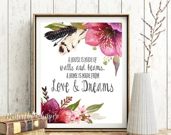 Housewarming gift, house warming gift, New house gift, New home, A home is made from love and dreams, Floral new home decor, Printable quote