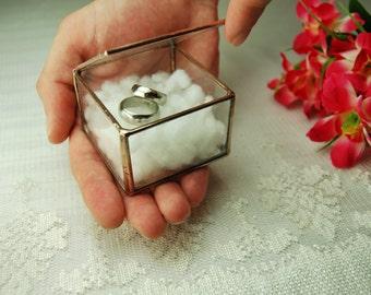 glass ring box wedding ring holder geometric glass box ring bearer box - Wedding Ring Box