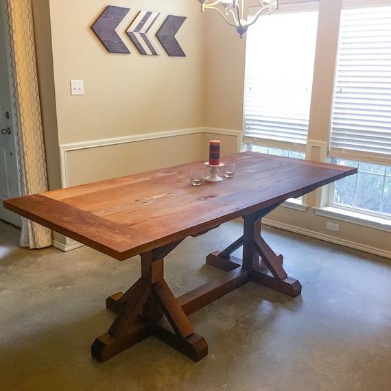 Trestle Farmhouse Table In Western Red Cedar By