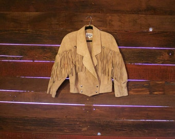 Vintage Suede Leather Fringe Jacket Korea 1980s Brown Taupe Paint
