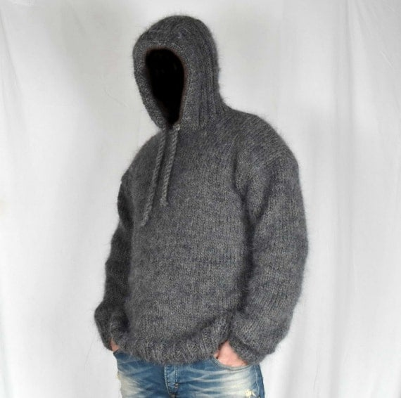 Beautiful Hand Knitted WOOL Mohair Pullover Men Sweater HOODIE