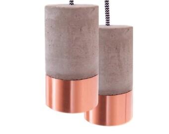 Concrete Lamp with Copper an Textile Cable (Light Switch + EU Plug)