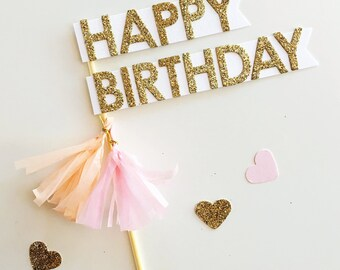 Happy Birthday Cake Topper Flags Pink Peach Tassels