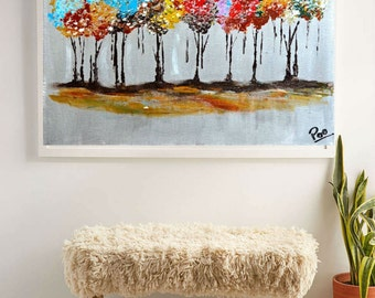Autumn tree painting,Large wall art,canvas painting,Modern painting ,spring season,handmade,Room decor,colorful art, Landscape art, tree art