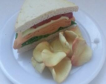 Polymer clay sandwich lunch platter magnet