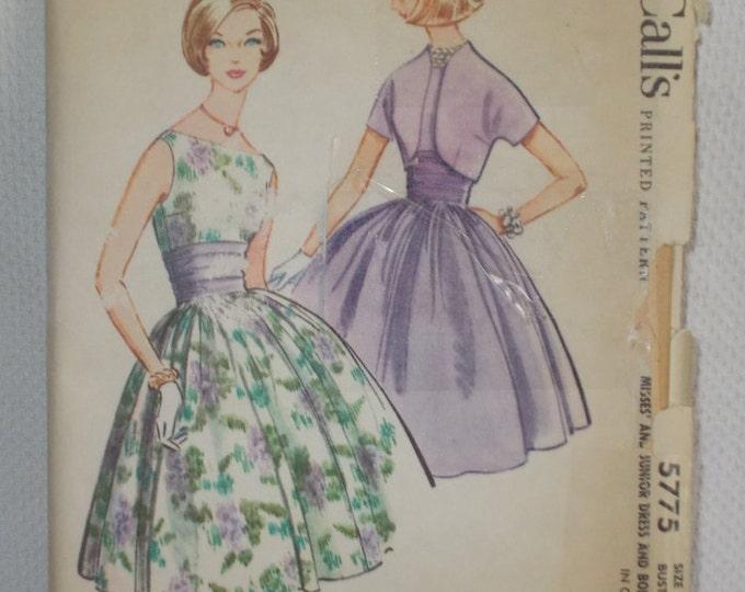 Vintage 60s McCalls 5775 Womens Uncut Unused Pattern Swing Rockabilly Cocktail Knee Length Sleeveless Dress Bolero Jacket