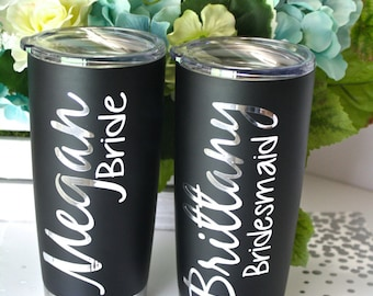 Personalized Stainless Steel Tumbler with Insulated Lid - 20oz., Wedding Tumbler, Bridesmaid Tumbler, Bride Tumbler, Bachelorette Tumbler