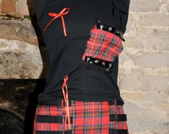 Red tartan mini skirt, plaid kilt, Alternative punk gothic clothing, lolita goth rock festival fashion