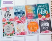 8 Motivational Quotes Volume 3 Full Boxes Planner Stickers  /EC Vertical Horizontal / Happy Planner